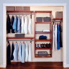 "ClosetMaid 53"" W Closet System   Birch Lane Closet Rod, Wardrobe Closet, Closet Storage, Closet Organization, Laundry Organizer, Small Wardrobe, Basement Storage, Organizing, Reach In Closet"