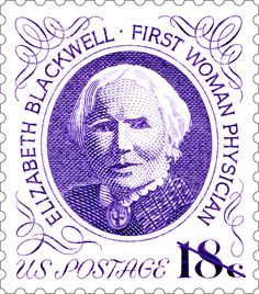"""uspsstamps:   """"If Martha Washington, Whistler's Mother, Susan B. Anthony and Pocahontas, why not Dr. Elizabeth Blackwell?"""" That question was..."""