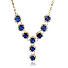 Azzurra - CZ Sapphire Gold Chain Collar Necklace