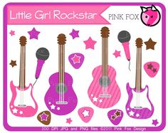 INSTANT DOWNLOAD - Little girl rockstar clip art - guitar clipart - baby shower graphics - digital scrapbook - invitation - stars