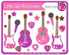 INSTANT DOWNLOAD - Little girl rockstar clip art - guitar clipart - baby shower graphics - digital scrapbook - invitation - stars