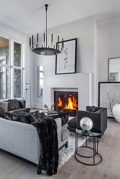Solid Interior Doors, Black And White Interior, Floor To Ceiling Windows, Plank Flooring, Classic Elegance, Open Concept, Architecture Details, White Interiors, Home Decor