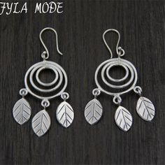 ==> [Free Shipping] Buy Best Vintage 925 Thai Silver Retro Style Round Chandelier Leaf Charm Long Drop Earrings Hand-made DIY Jewelry Accessory 2845MM 10.70 Online with LOWEST Price | 32810722131