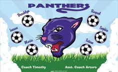 Panthers-45553 digitally printed vinyl soccer sports team banner. Made in the USA and shipped fast by BannersUSA. www.bannersusa.com