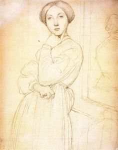 Study for the Portrait of Vicomtesse Louise-Albertine dHausonville, Drawing by Jean Auguste Dominique Ingres (1780-1867, France)