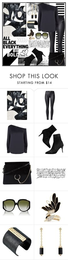 """Monochrome: All Black"" by jeneric2015 ❤ liked on Polyvore featuring Theory, Chloé, Tim Holtz, Gucci, Lanvin, The Sak, David Yurman and allblack"