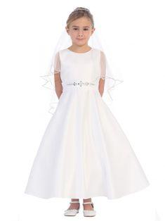 ac1a2c59902 Girls Dress Style 5666 - WHITE- Satin Aline Dress with Beaded Belt