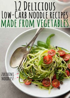 Zucchini Noodles With Caper Olive Sauce and Tomatoes 12 Light And Delicious Veggie Noodle Recipes Veggetti Recipes, Spiralizer Recipes, Veggie Dishes, Vegetable Recipes, Vegetable Ideas, Vegetarian Recipes, Cooking Recipes, Healthy Recipes, Bacon Recipes
