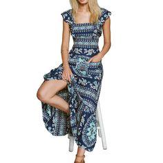 Floral Print Backless Boho Maxi Dress