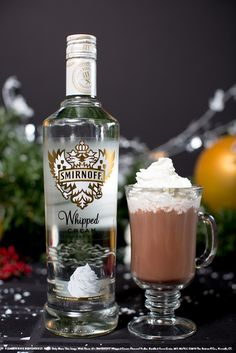 0.5 oz Smirnoff Whipped Cream Flavored Vodka, 0.5 oz Baileys® Original Irish Cream Liqueur and 4 oz hot chocolate. Top with whipped cream. Refreshing Drinks, Yummy Drinks, Vodka Drinks, Alcoholic Drinks, Party Drinks, Cocktail Drinks, Fun Drinks, Cocktails, Hot Chocolate Vodka