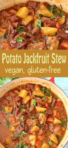A hearty delicious and healthy vegan potato stew with meaty jackfruit carrot smoky spices and tomatoes that will make you go back for seconds and lick your bowls clean. Best served with garlic bruschetta to mop up all that tasty plant-based gravy. Vegan Whole30 Recipes, Vegan Avocado Recipes, Best Vegan Recipes, Curry Recipes, Vegan Foods, Whole 30 Crockpot Recipes, Ground Beef Recipes, Whole Food Recipes, Chicken Parmesan Recipes
