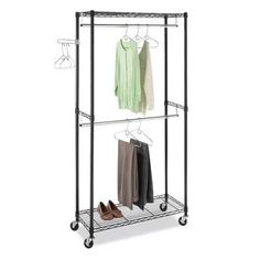 Whitmor, Inc Supreme Double Rod Rolling Garment Rack In Black