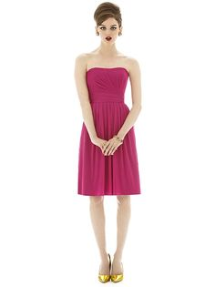 Alfred Sung #D650: Cocktail length strapless chiffon knit dress w/ draped detail at bodice. Shirred skirt.