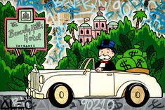 Available for sale from Eden Fine Art, Alec Monopoly, Monopoly Rolls Beverly Hills Hotel , Original mixed media on canvas. Oil Painting On Canvas, Canvas Art, Painting Art, Paintings, Cartoon Wallpaper Iphone, Pop Culture Art, Arte Pop, Dope Art, Animated Cartoons