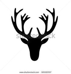 illustration of a deer head silhouette isolated on white, eps10 vector by phoelix, via Shutterstock