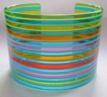 Vintage 60s Rainbow Striped Lucite Cuff Bracelet - Wide!