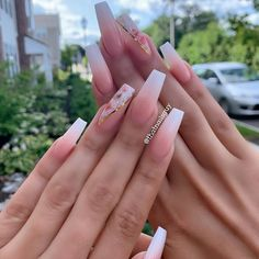 color street nails - t&t nails - - - French ombrenailfeedz By thatnailsguy source Bling Acrylic Nails, Aycrlic Nails, Best Acrylic Nails, Summer Acrylic Nails, Swag Nails, Manicure, Simple Acrylic Nails, Stiletto Nails, Spring Nails