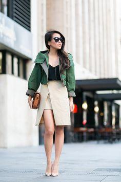 Top :: Burberry jacket, ASOS top  Bottom :: Storets  Bag :: vintage Celine  Shoes :: Christian Louboutin   Accessories :: Karen Walker sunglasses, Maria Black necklace, Euna Joyce rings.