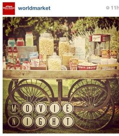 We love the idea of a movie night party with a popcorn bar!
