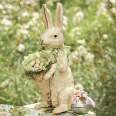Shabby Chic Bunny by Bethany Lowe....love and want this Rabbit! #easter