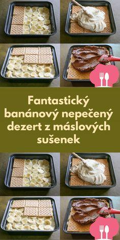 Fantastický banánový nepecený dezert z máslových sušenek