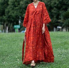 Women V Collar long Dress, plus size Dresses, summer Vintage long dress, ramie robe, wedding dress