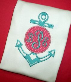 Nautical Chevron Anchor with Center Monogram Applique for Girls by Blumers Embroidery