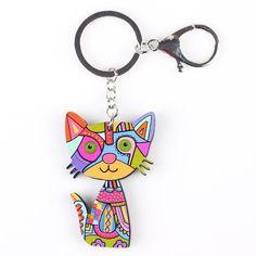ffb9d6a72 Bonsny Cat Keychain - Acrylic Pattern Cute Cat Fashion Fashion 2017, Trendy  Fashion, Fashion