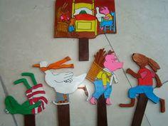 Met de kleurplaten van kikker en zijn vriendjes zijn deze stokpoppen prima te gebruiken bij de verteltafel! Wel kopiëren op dik papier!