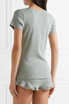Skin - Ruffle-trimmed Ribbed Pima Cotton Pajama Shorts - Light gray - 4