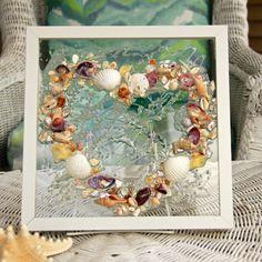 Valentines Day Decor for the Beach Lover, Beach Wedding Gift, Beach Decor for Coastal Home, Shell Art on Glass, Coastal Wall Art by SeaSideCreations1 on Etsy