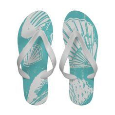Seashells Women's Flip Flops; Abigail Davidson Art; ArtisanAbigail at Zazzle