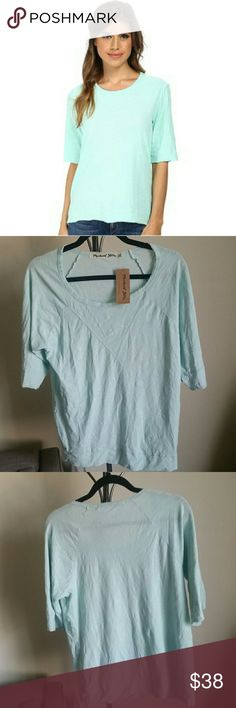 """NWT Michael Stars - Raw Edge Shirt in Opal - OS This Michael Stars Raw Edge California Slub Elbow Sleeve shirt is an easy to """"throw on and look effortlessly cool"""" top. Lightweight for the summer heat, this top is made with 100% cotton and can be machine washed cold. It is one size. Michael Stars Tops Tees - Short Sleeve"""