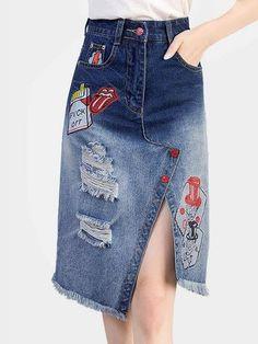 Blue Fashion High Waist Ripped Details Splited Denim Midi Skirts