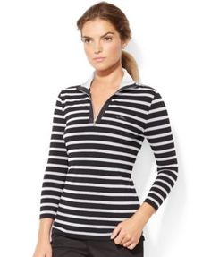 Lauren Ralph Lauren Petite Mock-Turtleneck Striped Pullover