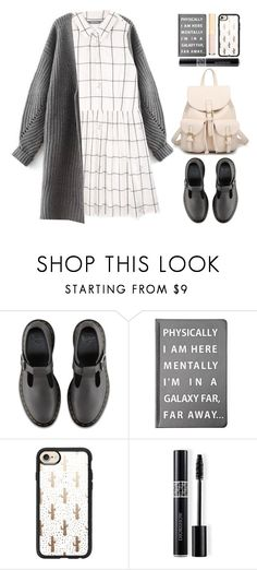 """""""Get Cozy: Chunky Knits (preppy)"""" by beebeely-look ❤ liked on Polyvore featuring Dr. Martens, Forever 21, Casetify, Christian Dior, Dolce&Gabbana, BackToSchool, cardigans, sammydress, schooloutfit and chunkyknits"""