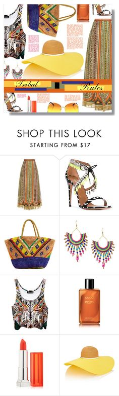 """Tribal Rules!"" by sarahguo ❤ liked on Polyvore featuring Valentino, Aquazzura, Sensi Studio, Panacea, Chanel, Maybelline and Eugenia Kim"