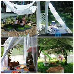 Sheer fabric drapes to create flowing outdoor spaces and dens (let the children play: Be Reggio-Inspired: Outdoor Environments)