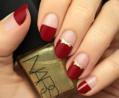 Best Red and Gold Bow Nail Tutorial For XMAS 2016 – Fashion Te