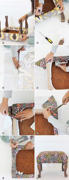 DIY upholstered foot stool tutorial The Effective Pictures We Offer You About DIY Furniture apartment A quality picture can tell you many things. You can find the most beautiful pictures that can be p Diy Furniture Upholstery, Refurbished Furniture, Repurposed Furniture, Furniture Projects, Furniture Makeover, House Furniture, Furniture Plans, Kids Furniture, Garden Furniture