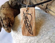 Tribal Feather Necklace Maple Wood Pendant Feather by SepiaTree