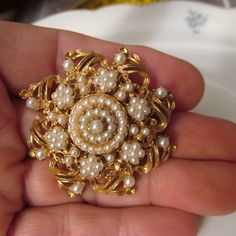 Vintage FLORENZA BROOCH Gold Plating Seed Pearls Estate Sale Purchase by GrammiesCupboard on Etsy