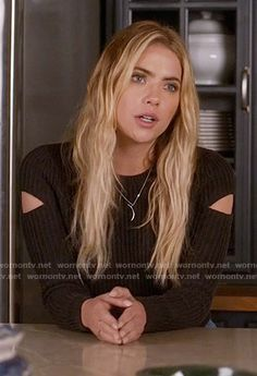 Hanna's grey sweater with split sleeves on Pretty Little Liars.  Outfit Details: https://wornontv.net/59442/ #PLL