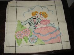 vtg vogart pillow printed stamped romantic couple dance rendevous embroidery