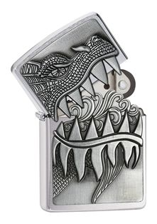 Look out! This Brushed Chrome dragon design features an attached emblem and a surprise - open the jagged teeth to reveal a fiery cloud of flame. Comes packaged in an environmentally friendly gift box. For optimal performance, use with Zippo premium lighter fluid.