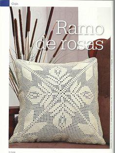 "Photo from album ""Croche - Arte experto on Yandex. Crochet Cushion Cover, Crochet Cushions, Crochet Pillow, Crochet Doilies, Filet Crochet Charts, Crochet Diagram, Crotchet Patterns, Doily Patterns, Pillow Crafts"