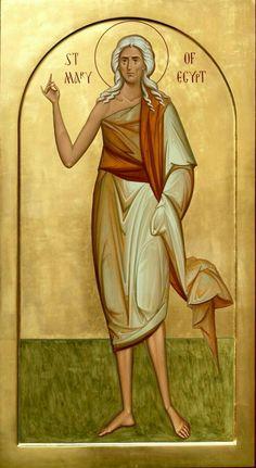Saint Mary of Egypt Sf Maria Egipteanca Religious Pictures, Religious Icons, Religious Art, Byzantine Icons, Byzantine Art, St Mary Of Egypt, Greek Icons, St Maria, Christian Pictures