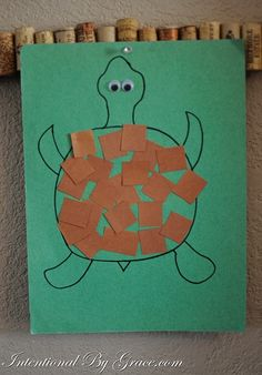 Shapes Theme Craft Project - Turtle with Square Shapes Shell
