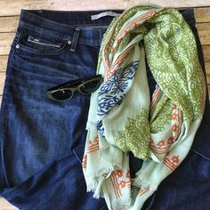 """Vismaya Scarf Vismaya Scarf. Beautiful olive green, navy blue, & orange designs adorn this light minty green scarf. 72"""" long x 30"""" wide. J Brand cropped jeans & SMITH Sunnies also for sale. For info see listing in my closet. BUNDLE & SAVE! Vismaya Accessories Scarves & Wraps"""