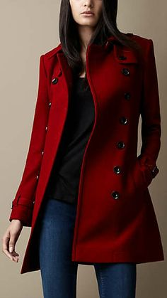 Mid-Length Wool Blend Trench Coat - Burberry